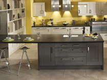 Clonmel Oak stained Anthracite and painted Mussel Kitchens, Gurteen Kitchens, Gurteen, Knock Road, Ballyhaunis, Co. Mayo, Ireland - Feature Image
