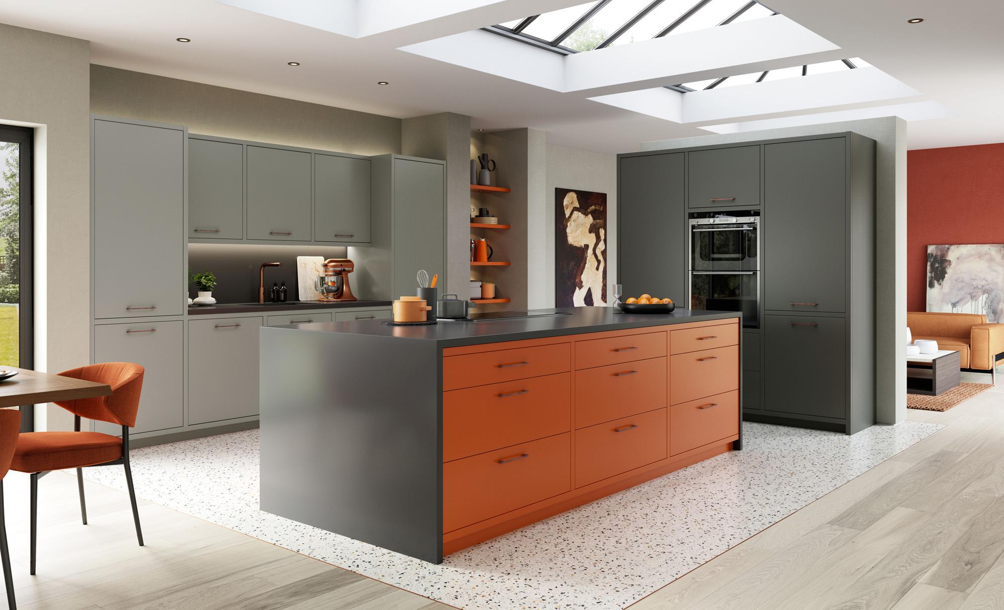 http://www.gurteenkitchens.ie/wp-content/uploads/2019/08/modern-contemporary-zola-matte-zingy-orange-graphite-dust-grey-kitchen-hero.jpg